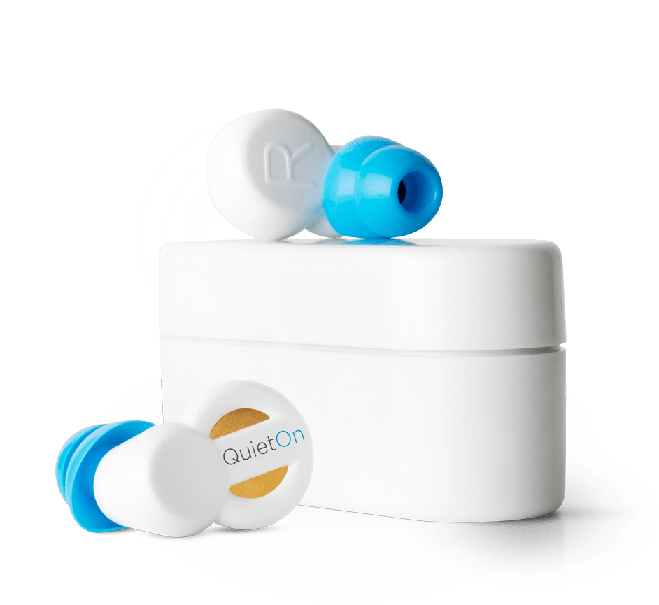 QuietOn Dental earbuds and case