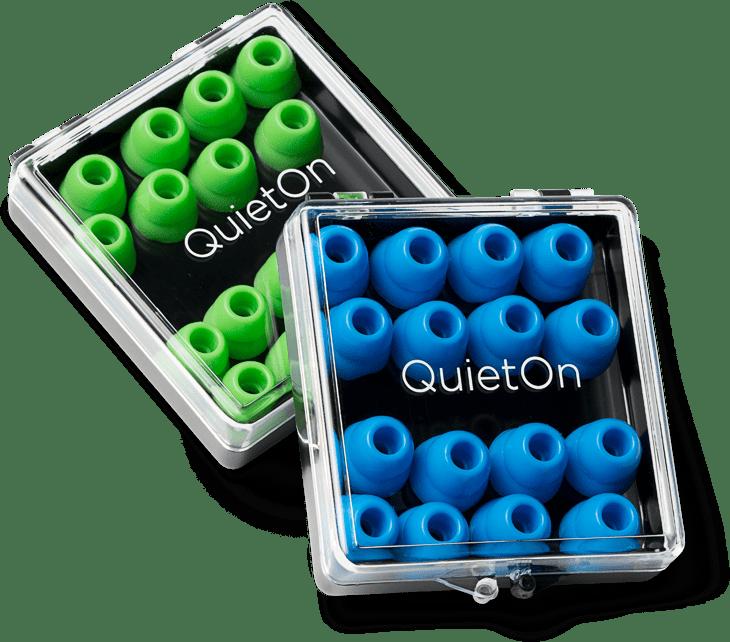 QuietOn Dental eartips in a case